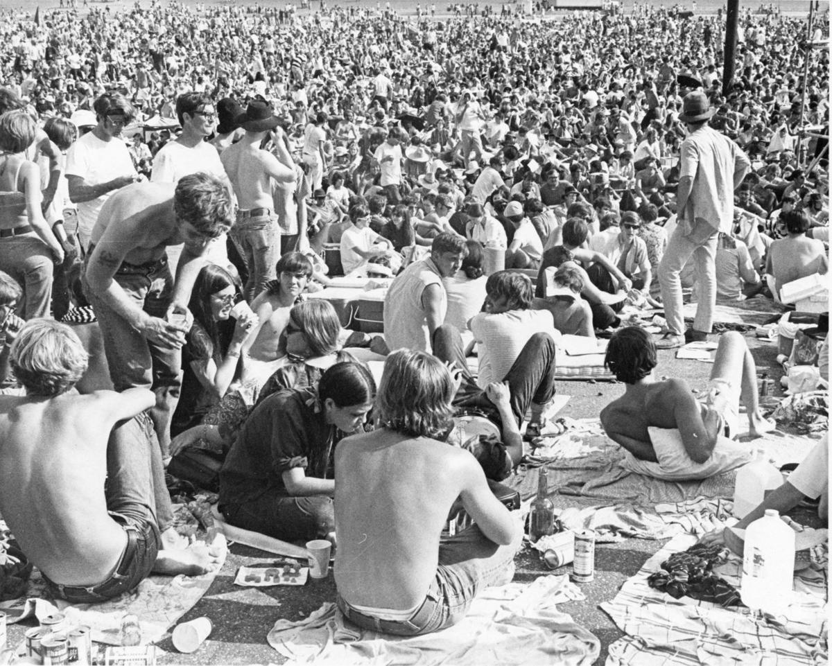 FILE PHOTO. People gather at the 1969 New Orleans Pop Festival at the Louisiana International Speedway in Prairieville.