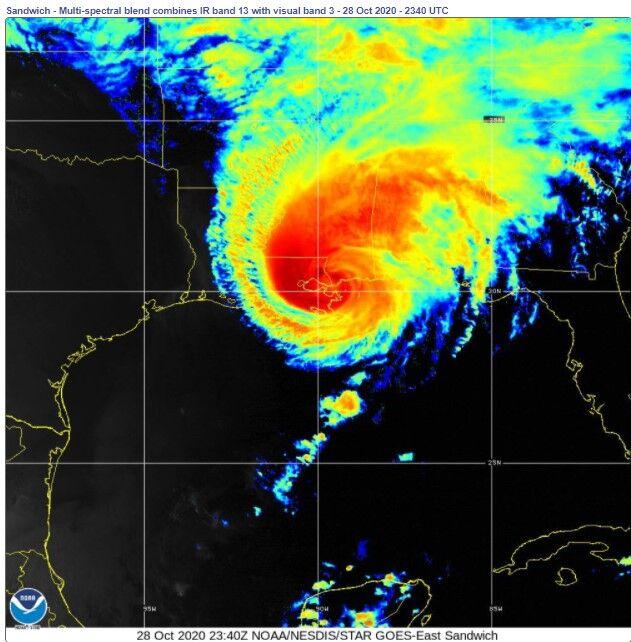 Hurricane Zeta over New Orleans