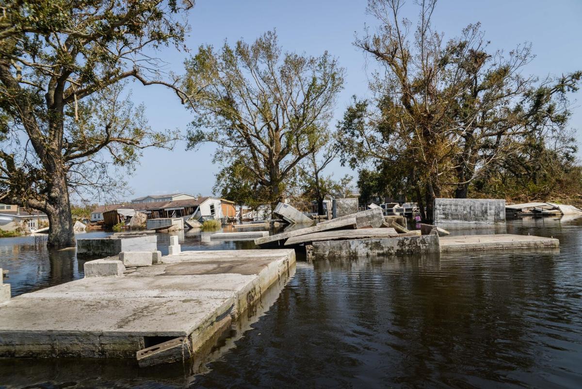 Ironton cemetery after Hurricane Ida
