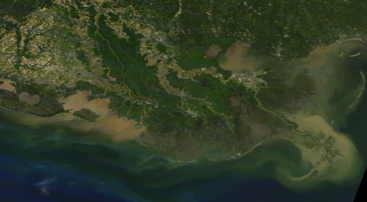 Louisiana coast in NASA satellite photo, May 7, 2021