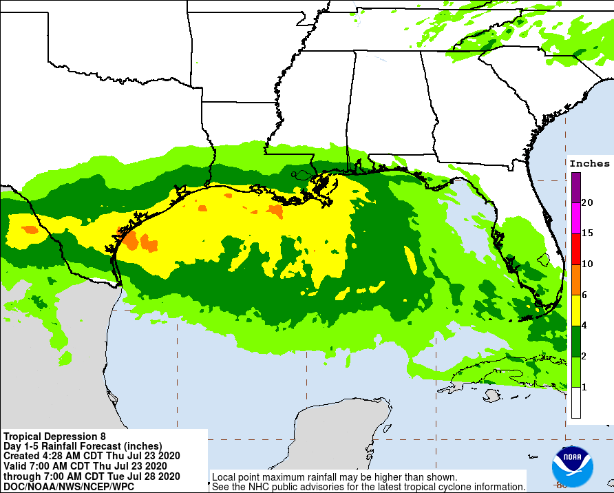 Rain possibilities for tropical depression in Gulf of Mexico 7am