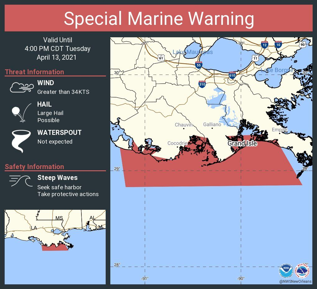 Map of special marine warning issued at 2:58 p.m. Tuesday