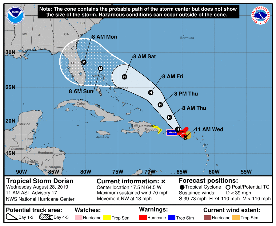 photo relating to Hurricane Tracking Map Printable named Dorian may be Classification 3 hurricane at the time it reaches Florida