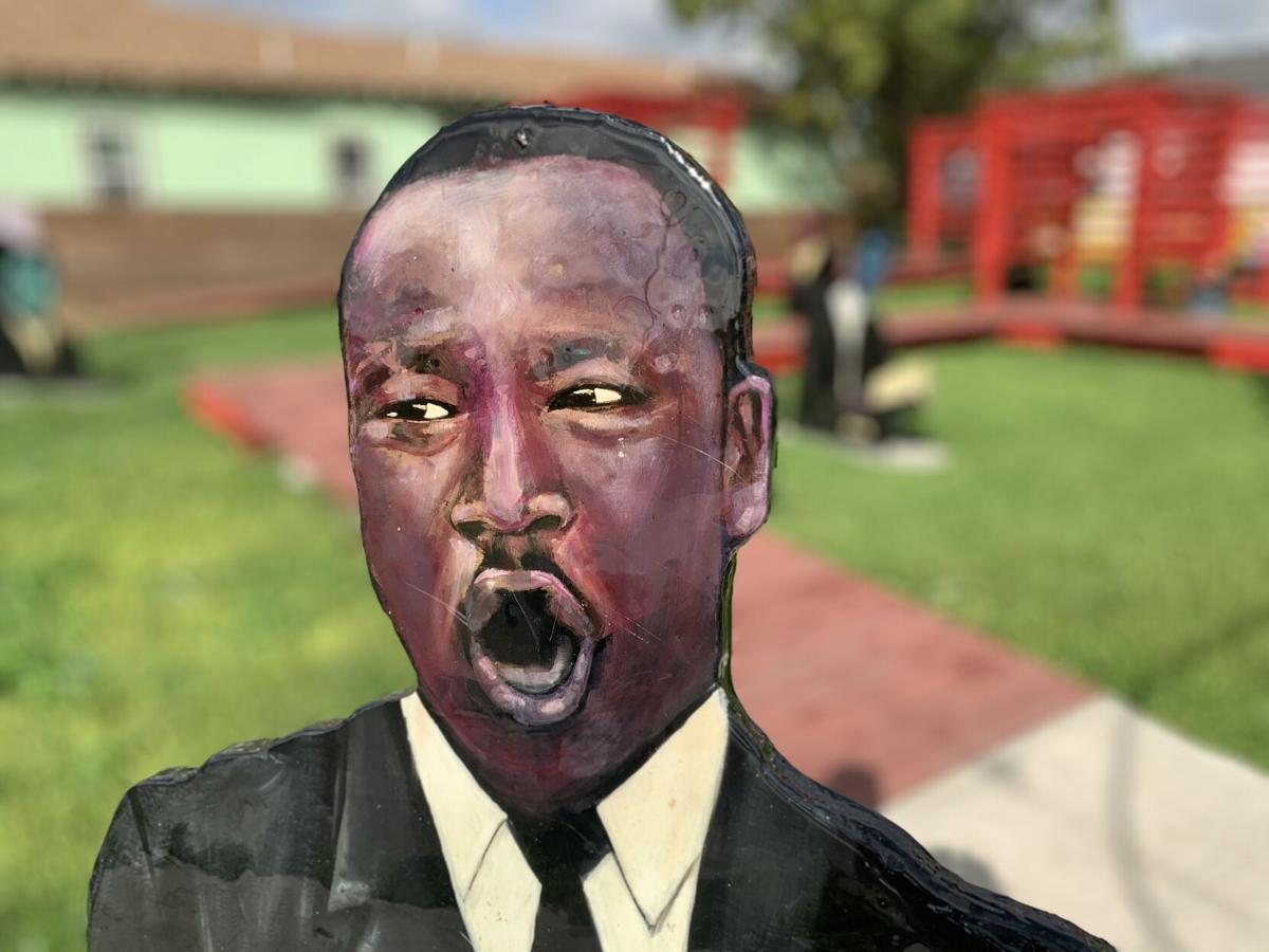 Portrait of Civil Rights giant Martin Luther King Jr. by Jessica Strahan, part of The SCLC Memorial Walkway Pavilion – STAFF PHOTO BY DOUG MacCASH.jpeg