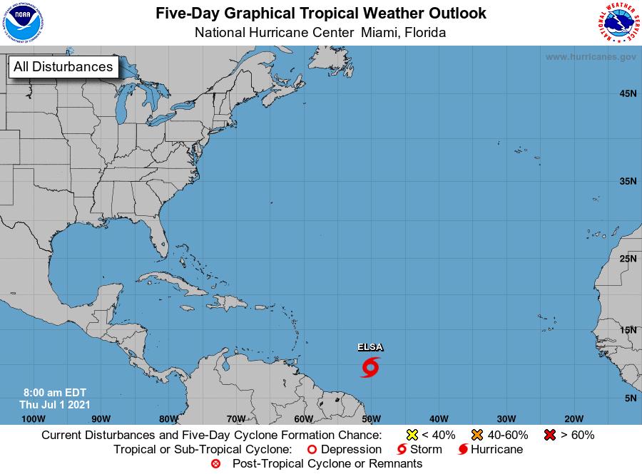 Tropical Storm Elsa outlook 7am july 1