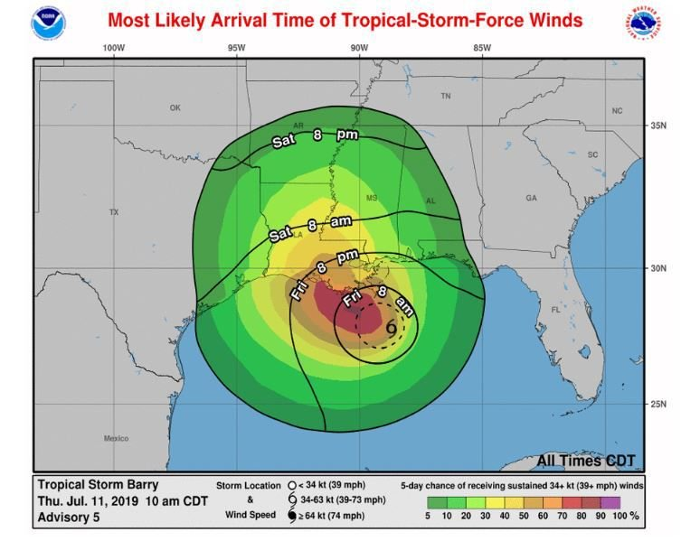 Arrival time of tropical storm-force winds for Barry