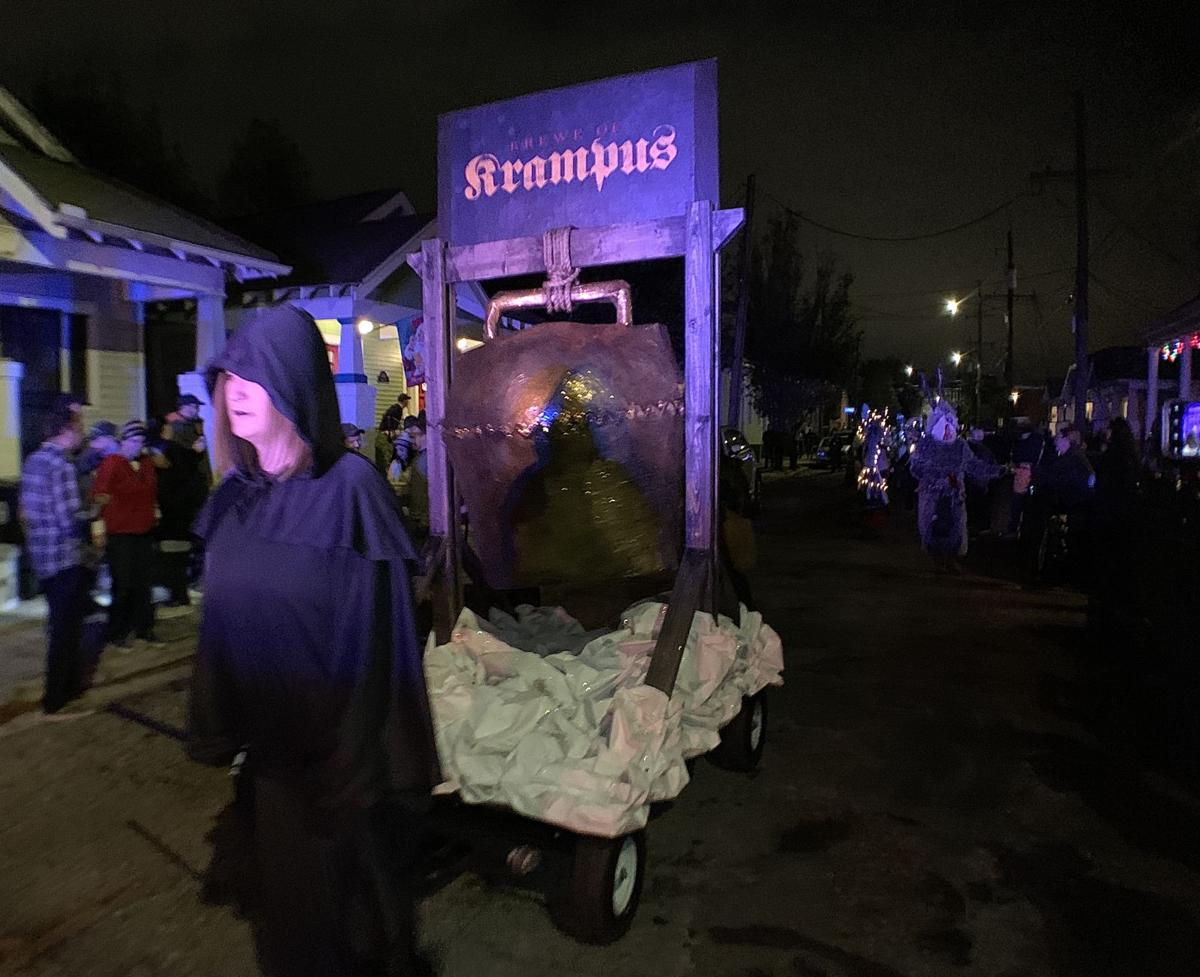 The 2019 Krampus NOLAauf parade meanders menacingly through the Bywater on Dec. 7