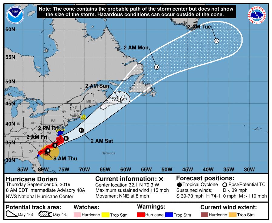 Hurricane Dorian 09519 7am track