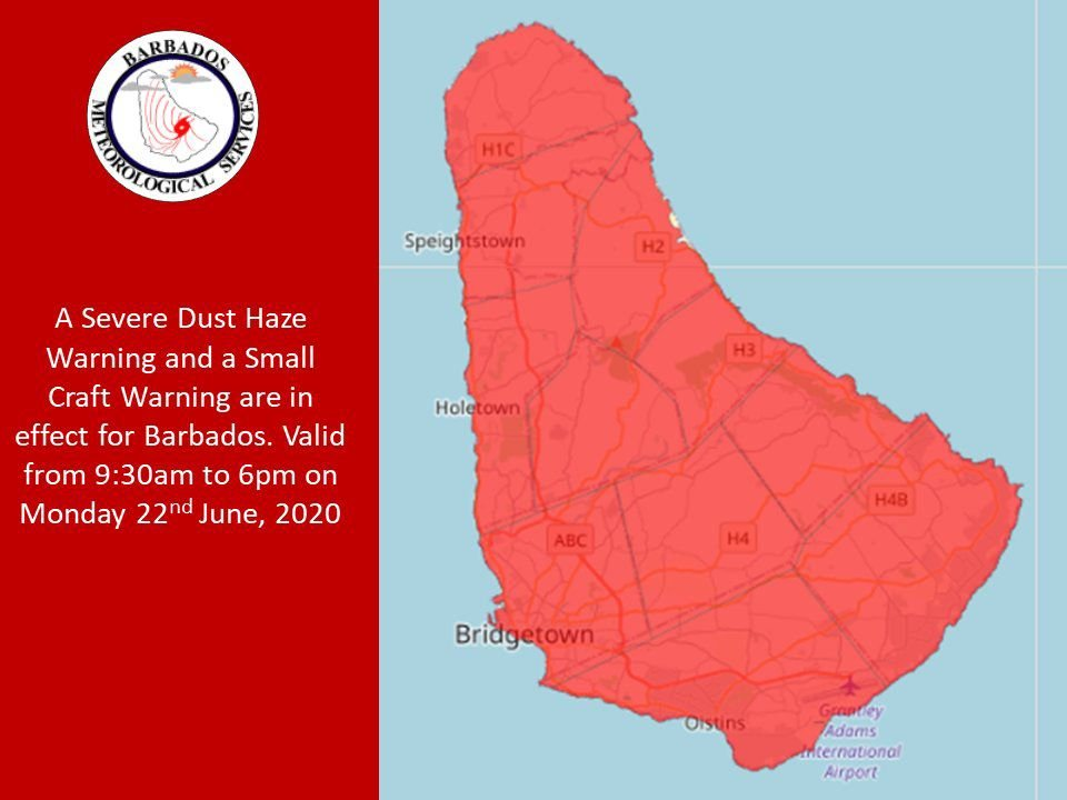 Barbados dust warning