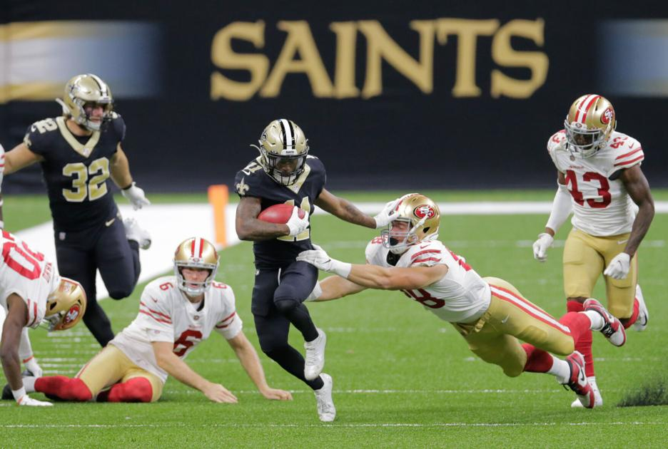 Returner Deonte Harris downgraded to out with neck injury; Saints promote 3 practice squad players