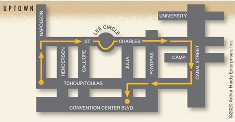 The shortened 2020 Bacchus and Orpheus parade routes