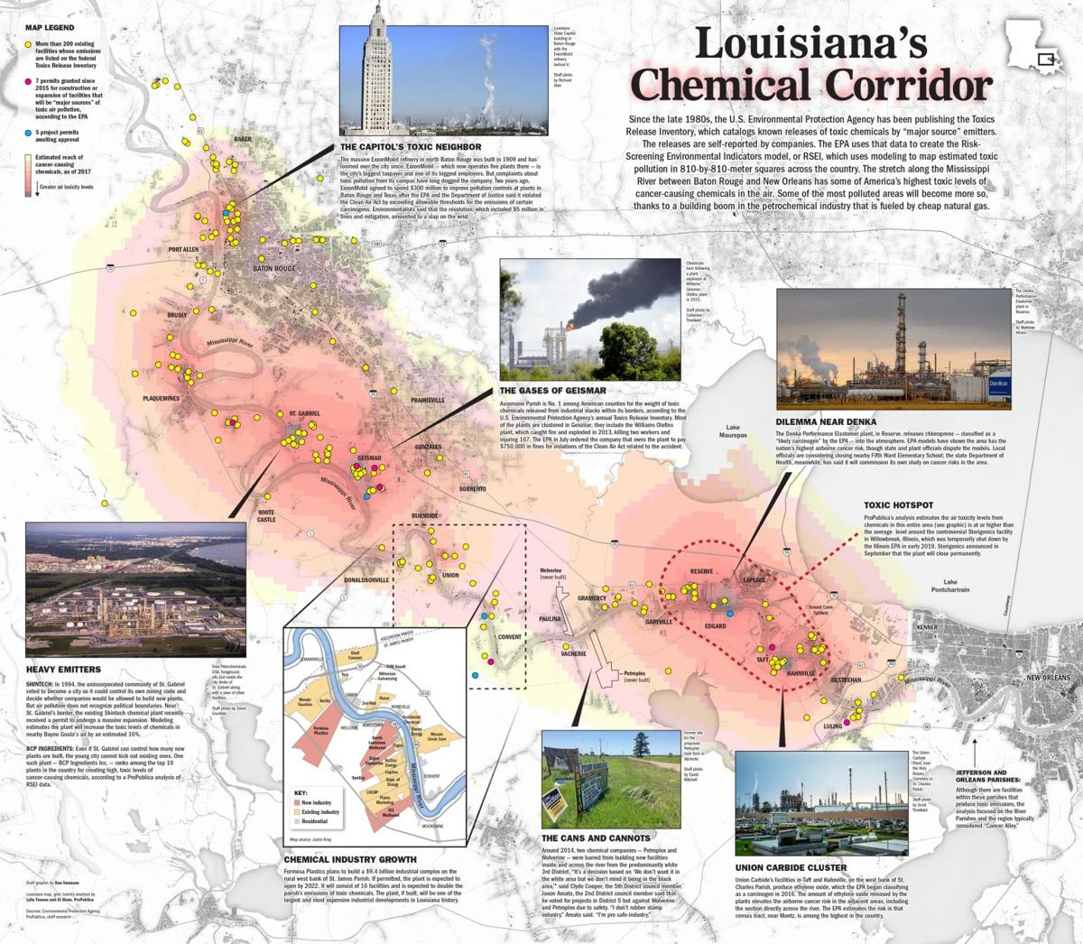alley louisiana map Explore Louisiana S Chemical Corridor On This Two Page Newspaper alley louisiana map