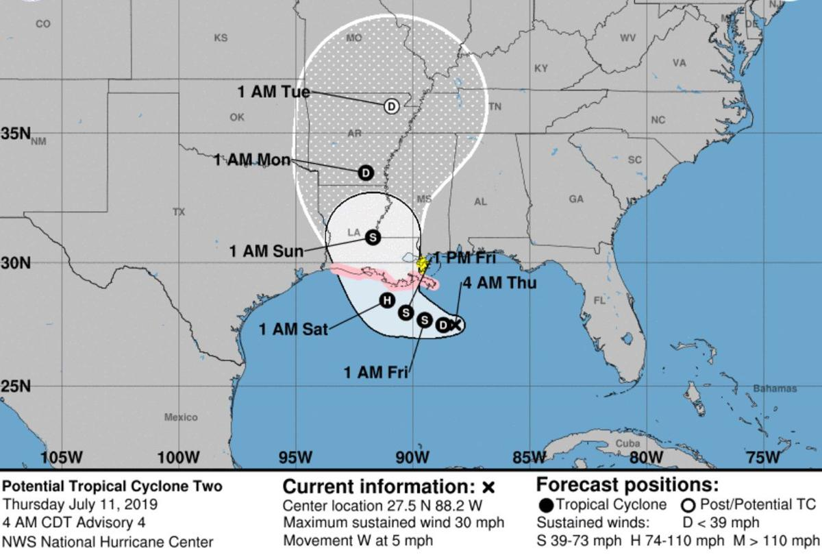 NHC track for Potential Tropical Cyclone Two; 4 a.m. Thursday