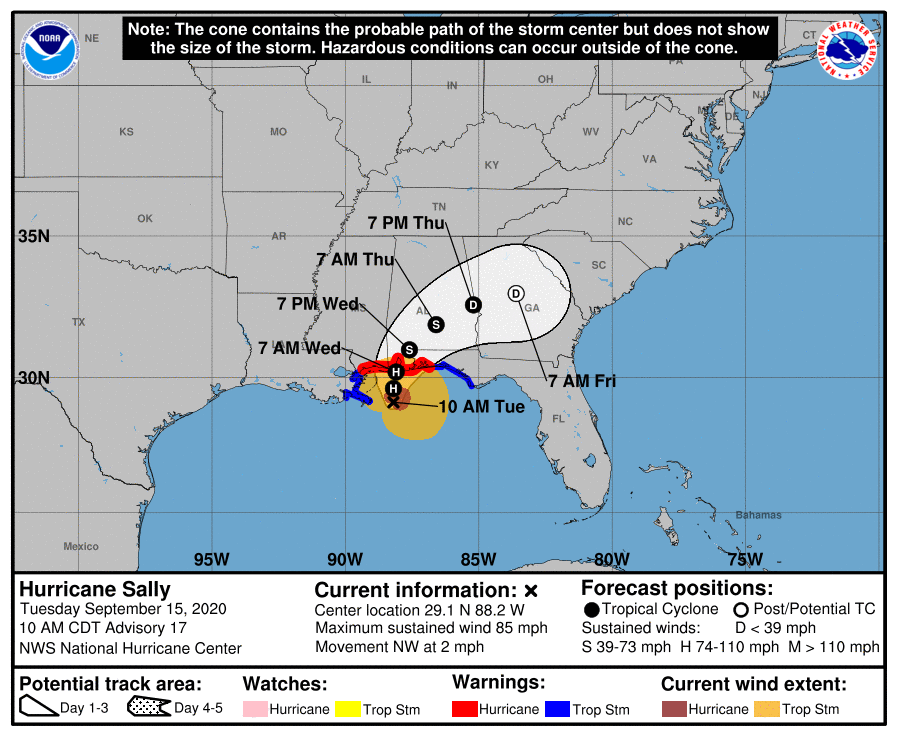 Hurricane Sally 10am Tuesday track