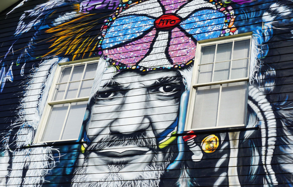 Two-story Dr. John portrait pops up on Toledano Street in time for Halloween
