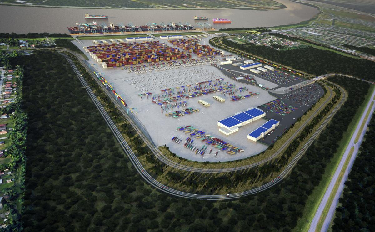 Rendering of the proposed $1.5 billion container terminal at Violet, St. Bernard Parish
