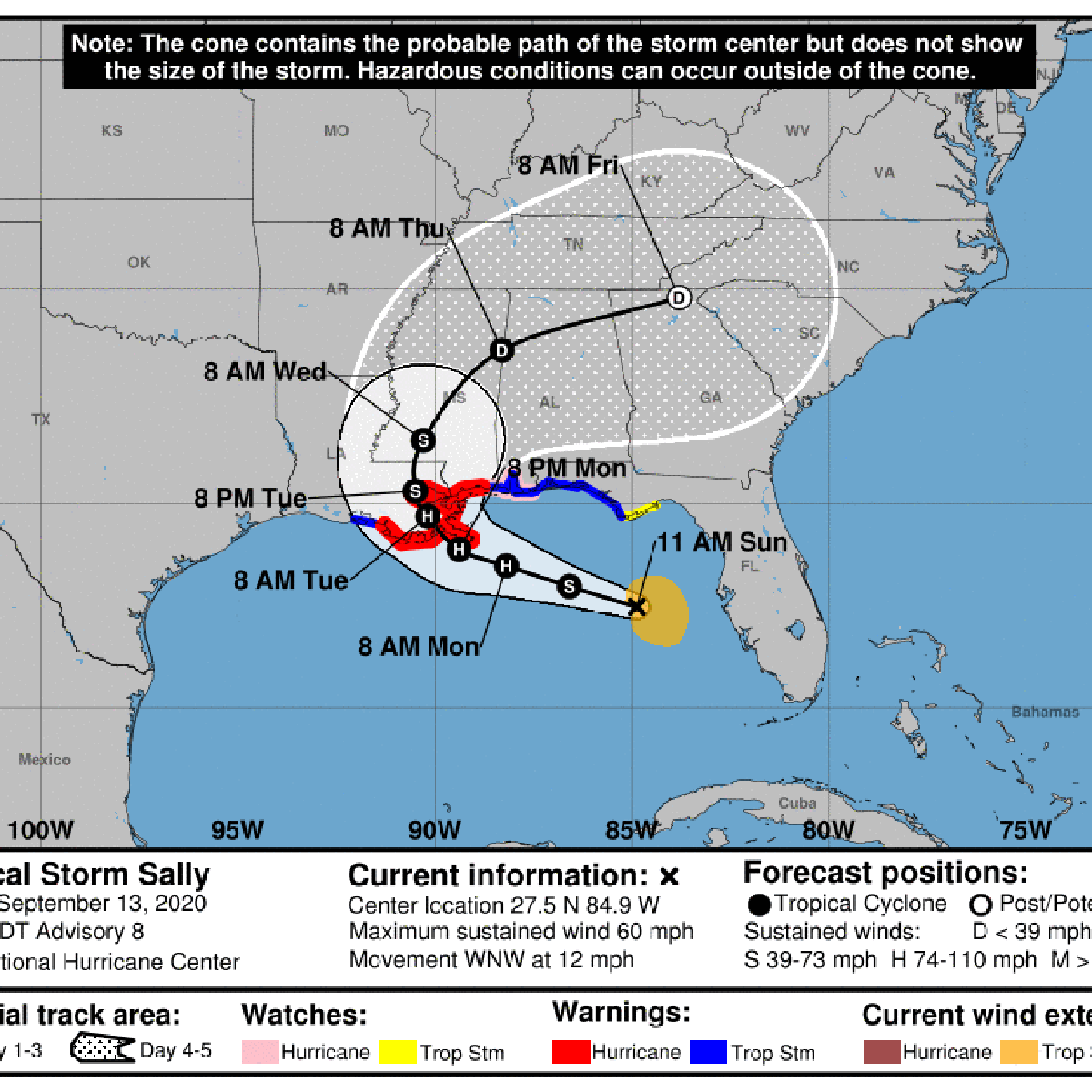 Hurricane Center Sally To Come Ashore Monday Night With At Least 90 Mph Max Winds See Track Hurricane Center Nola Com