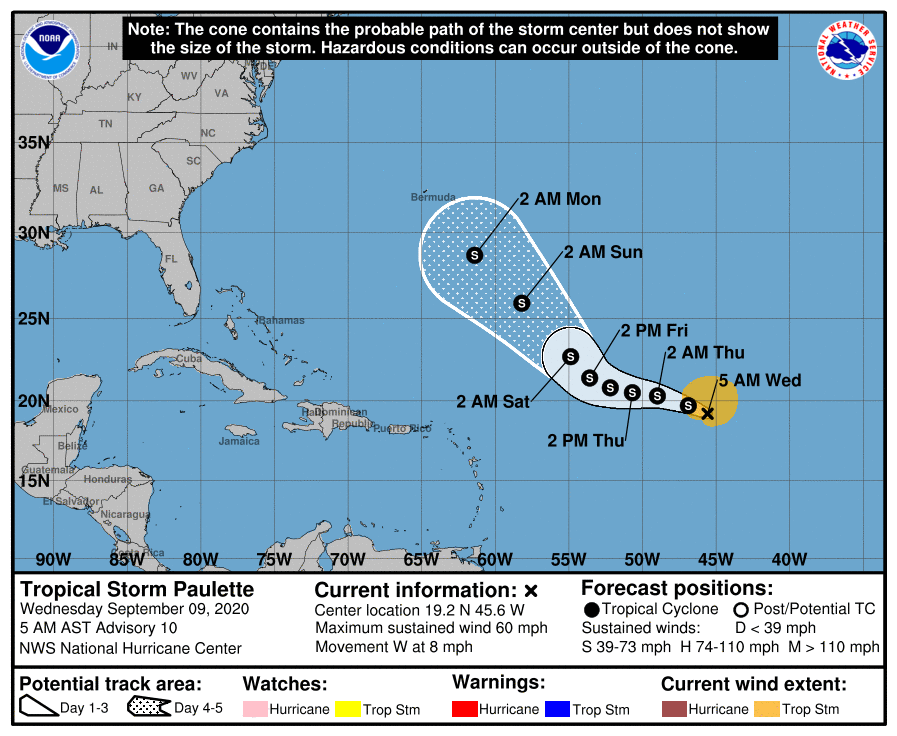 Tropical Storm Paulette 7am Wednesday track