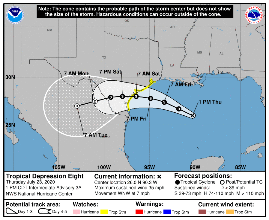 Tropical depression in Gulf of Mexico 10 am update