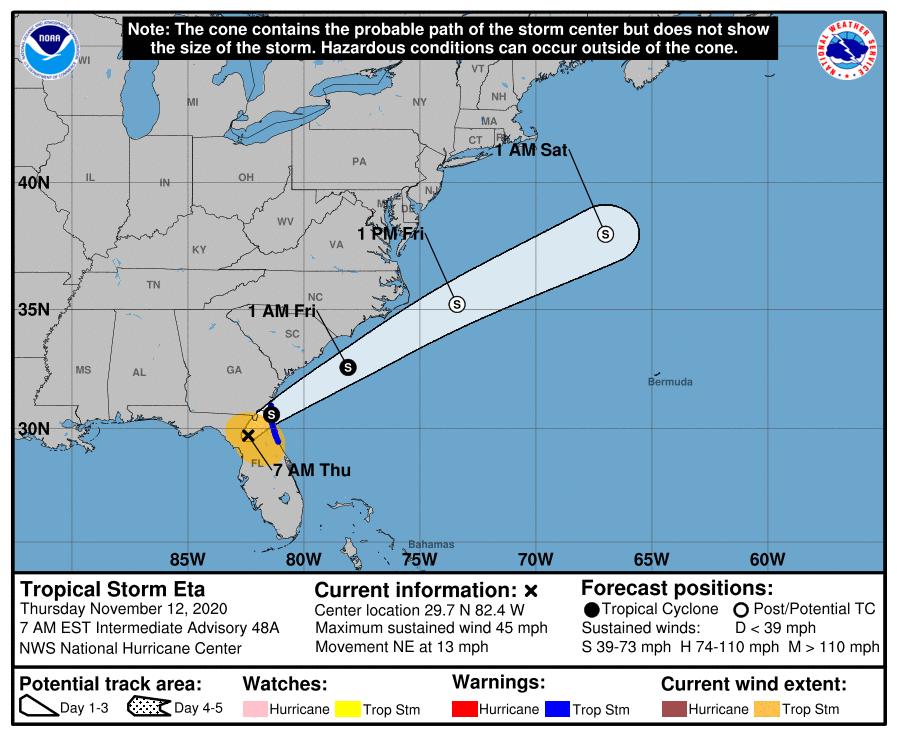 Tropical Storm Eta 6am Thursday track