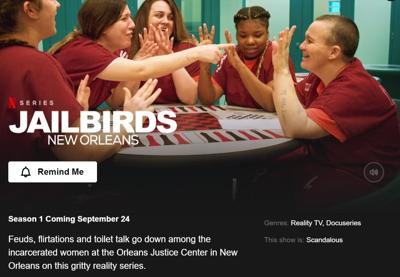 'Jailbirds: New Orleans' homepage on Netflix