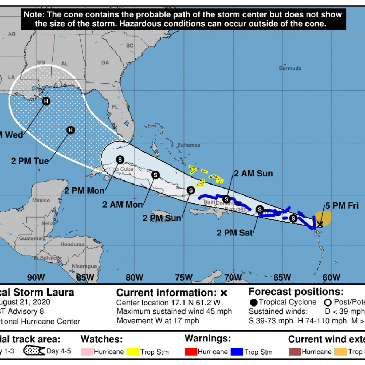 Tropical Storm Laura Track Shifts West Now Taking Aim At New Orleans Area See Latest Forecast Hurricane Center Nola Com