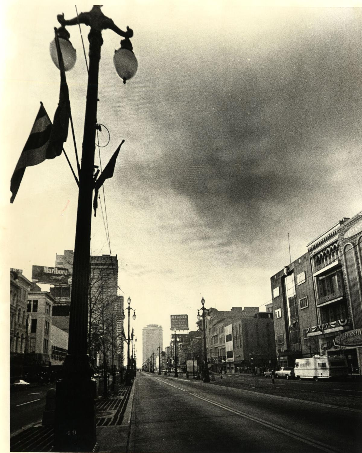 Empty Canal Street on Mardi Gras 1979 during New Orleans police strike