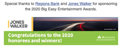 Big Easy Entertainment Award 2020 Sponsors