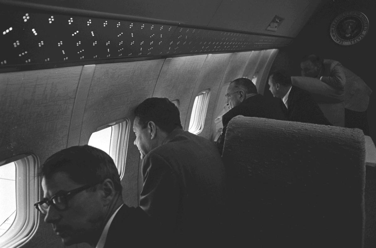 President Lyndon Johnson viewing New Orleans damage during Betsy