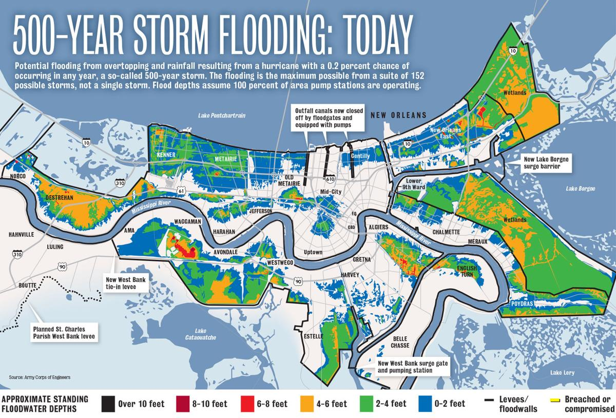 flood map new orleans Hurricane Katrina Flooding Compared To A 500 Year Storm Today flood map new orleans