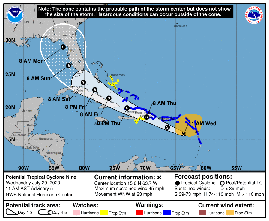 10 a.m. Tropical disturbance update - 5-day cone
