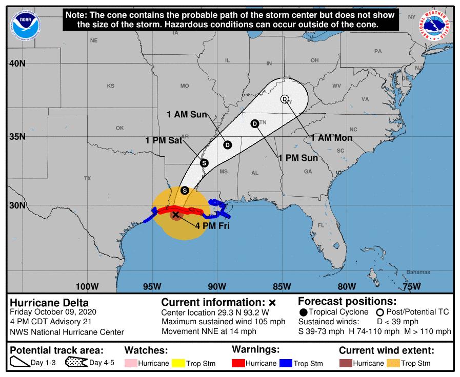 4 p.m. Friday Hurricane Delta track