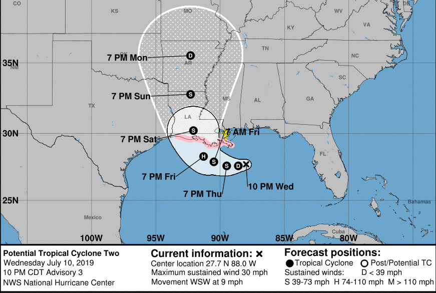 NHC track on July 10, 2019 at 10 p.m.