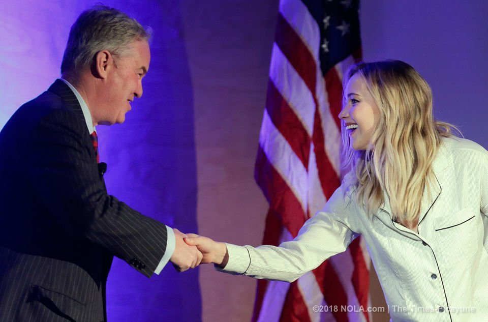 Jennifer Lawrence gets political at Tulane University in New Orleans