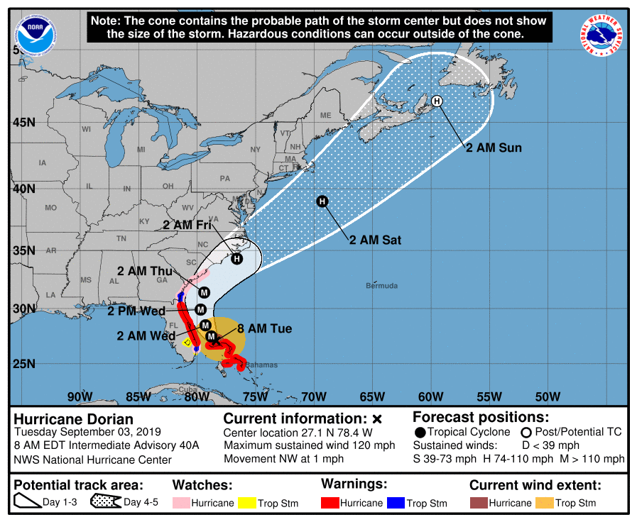hurricane dorian 090319 7am track