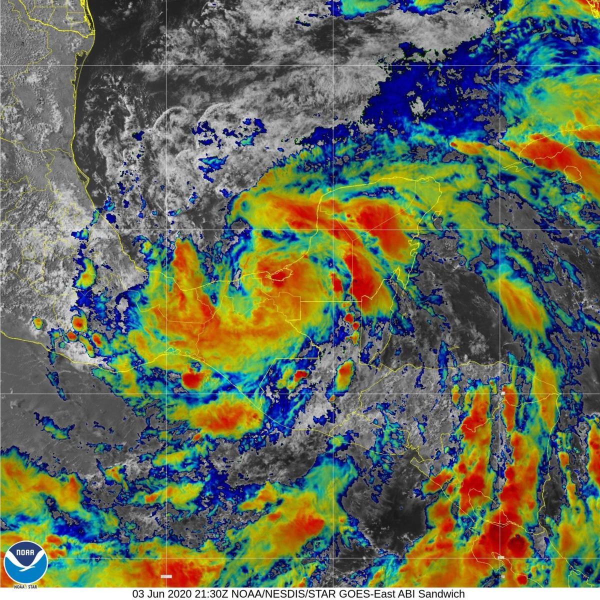Infrared view of Tropical Storm Cristobal