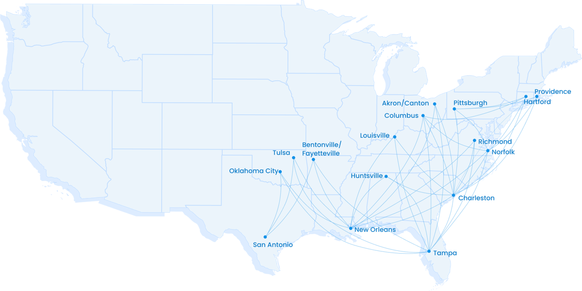 Breeze Airways route map