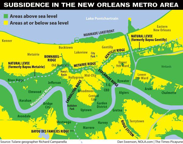 Half of New Orleans is below sea level, s sank it: report ... Map Of New Orleans And Surrounding Cities on