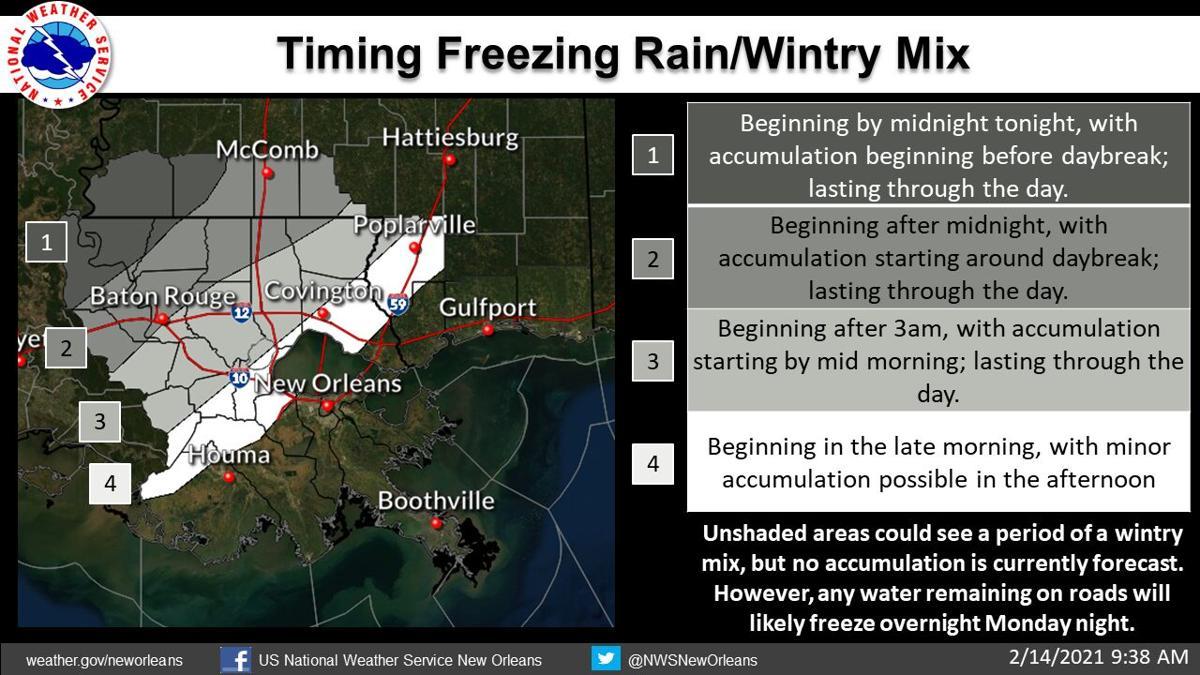 Ice forecast for south Louisiana for Feb. 14, 2021