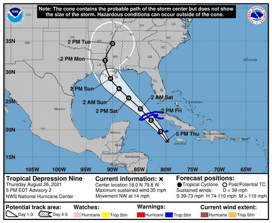 Tropical Storm Ida track, Aug. 26, 2021, 4 p.m.