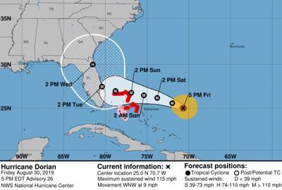 Hurricane Dorian 083019 10am track