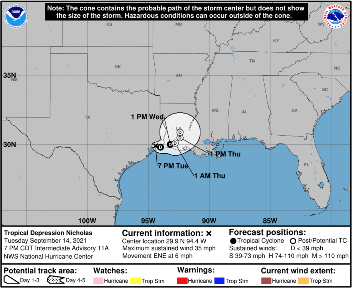 Tropical Storm Nicholas 7pm path Sept 14