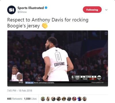 sports shoes c32fb 84a6e Do it for Boogie: Anthony Davis wears DeMarcus Cousins ...