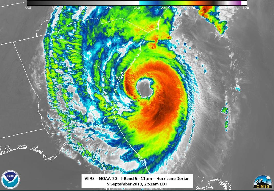 Hurricane Dorian eye 090519 satellite
