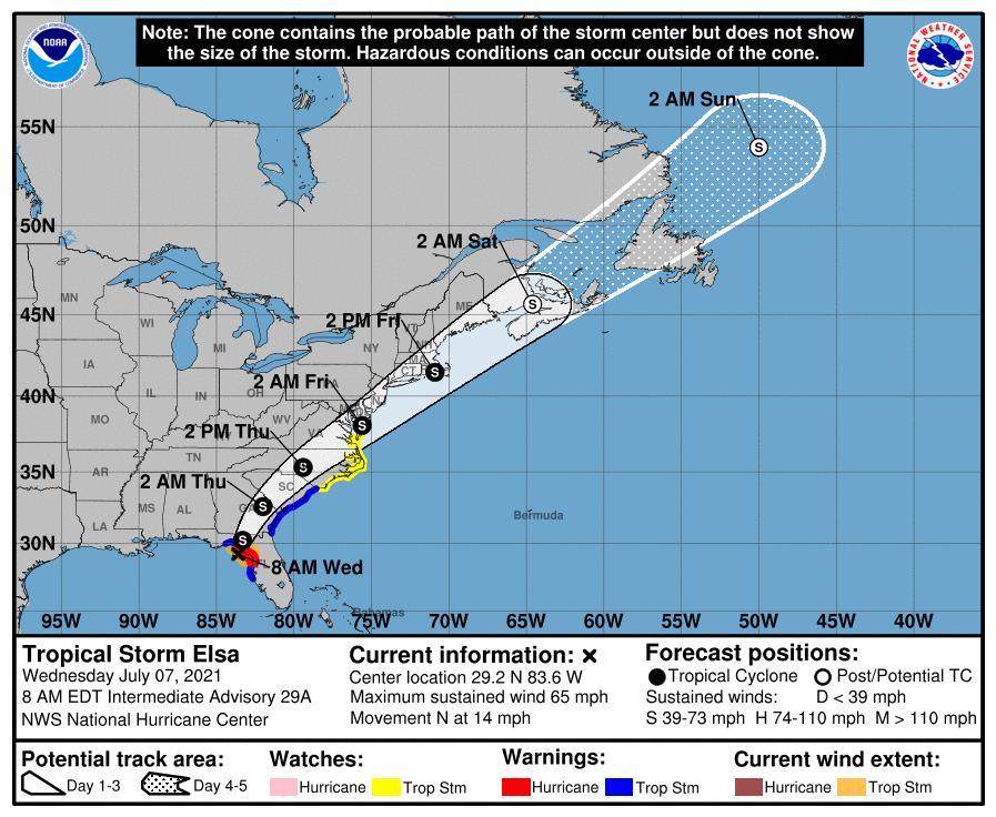 Tropical Storm Elsa track 7am July 7
