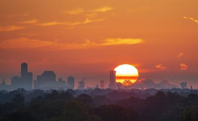 New Orleans skyline at sunrise
