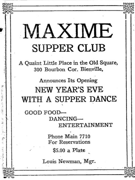 How a 1920s Bourbon Street nightclub called Maxime forever transformed the French Quarter