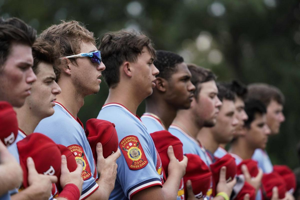 Pedal Valves Cardinals stand at attention prior to American Legion World Series semifinals