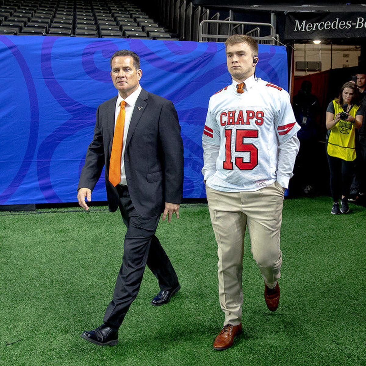 the best attitude 414f4 5c3e6 Texas QB Sam Ehlinger wears Drew Brees high school jersey ...