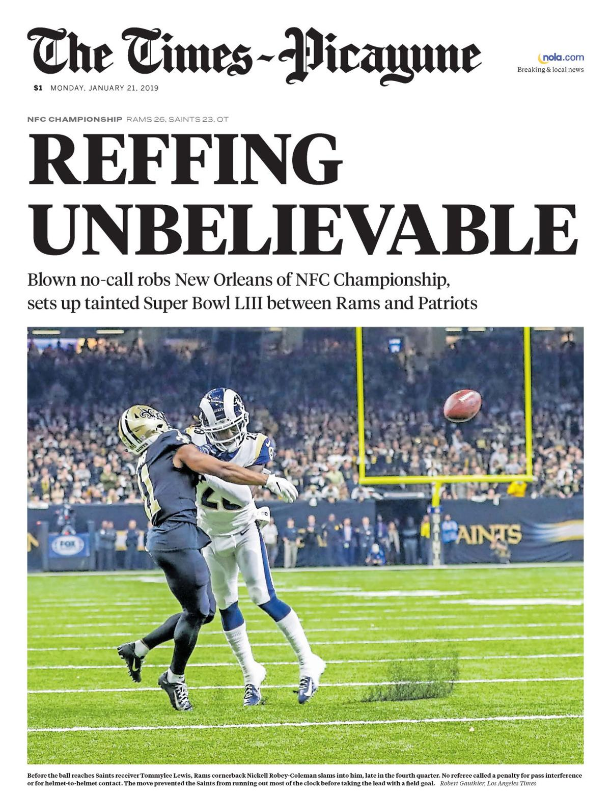 'Nailed it': Times Picayune's Saints-Rams front page gets social media props